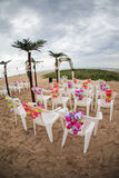 Beach chairs and decorations Stock Photo
