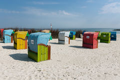 Beach chairs at Dune, German island near Helgoland. Colorful beach chairs at Dune, German island near Helgoland stock images