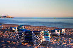 Beach chairs dusk time Stock Images
