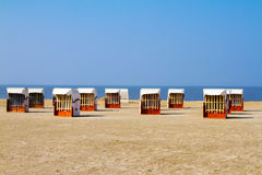 Beach Chairs. Empty beach chairs on the beach Royalty Free Stock Images