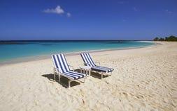 Beach chairs on an empty beach Royalty Free Stock Photo