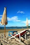 Beach chairs for enjoy the beach. On sunny sandy beaches Stock Image
