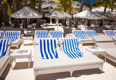 Beach chairs in exotic resort on perfect white Stock Photography