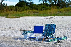 Beach Chairs with Fishing Pole Stock Image