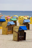 Beach chairs in Germany. Closed Beach chairs in Germany near Baltic sea Royalty Free Stock Photos