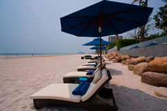 Beach chairs on Hua Hin beach Thailand Royalty Free Stock Photography