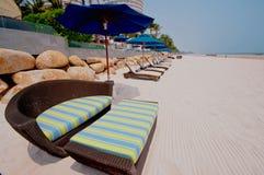 Beach chairs on Hua Hin beach Thailand Stock Images