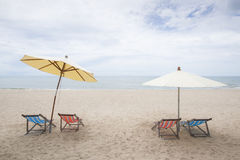 Beach chairs on Huahin Beach in Thailand Royalty Free Stock Images
