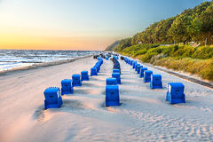 Beach Chairs In Morning Light At The Beach Royalty Free Stock Images