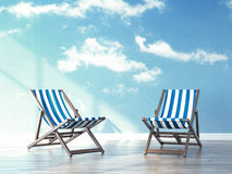 Beach chairs in interior with sky on wallpapers Stock Photography