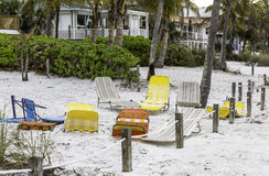 Beach chairs on the beach Stock Photo