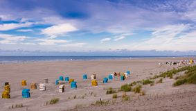 Beach chairs on the island of Juist. Germany royalty free stock photography