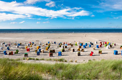 Beach chairs at the island of Juist in Germany Royalty Free Stock Photos