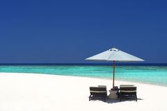 Beach Chairs In Island Paradise Royalty Free Stock Images