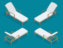 Beach chairs isolated on blue background. Wooden beach chaise longue Flat 3d isometric vector illustration. Stock Photo