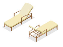 Beach chairs isolated on blue background. Wooden beach chaise longue Flat 3d isometric vector illustration. Royalty Free Stock Photos