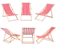 Beach chairs isolated on white Royalty Free Stock Photography