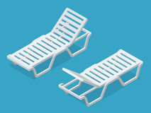 Beach chairs isolated on white background. Plastic beach chaise longue Flat 3d isometric illustration. Stock Photos