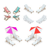 Beach chairs isolated on white background. Wooden and plastic beach chairs. Flat 3d vector isometric illustration. Royalty Free Stock Image