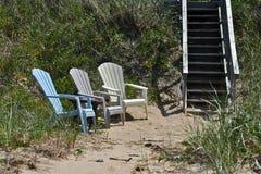 Beach Chairs at Lake Huron Royalty Free Stock Photo