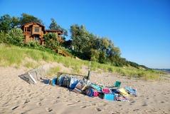 Beach Chairs on lake Michigan Royalty Free Stock Photos