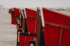 Beach chairs in a line at a german beach royalty free stock photo