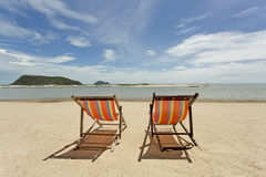 Beach chairs looking out to sea Royalty Free Stock Photography