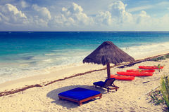 Beach chairs in luxury resort on carribean coast Stock Images