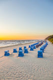 Beach chairs in morning light at the beach Royalty Free Stock Photography