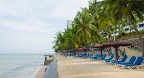 Beach chairs near sea Royalty Free Stock Photos