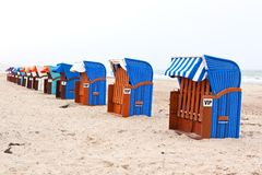 Beach chairs in northern germany Royalty Free Stock Photo