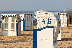 Beach chairs in Northern Germany Stock Images