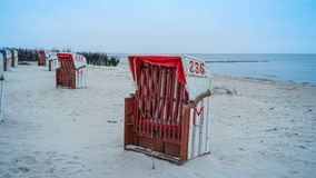 At the sea. Beach chairs on the northsea coast in Germany, Cuxhaven Stock Photography
