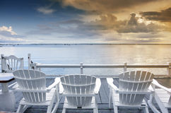 Beach chairs overlooking ocean Stock Image