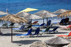 Beach chairs and parasols Royalty Free Stock Photography