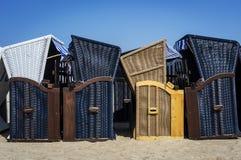 Beach Chairs on Polish seaside. Wicker beach chairs on Polish seaside in Sopot, Poland stock images