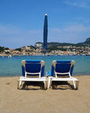 Beach chairs. At Port de Soller, Mallorca, Spain Royalty Free Stock Photography