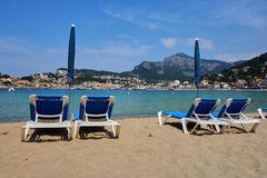 Beach chairs. At Port de Soller, Mallorca, Spain Royalty Free Stock Images