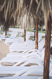 Beach Chairs ready for sun bathing Stock Photo
