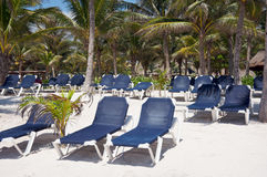 Beach chairs at a resort Royalty Free Stock Photos