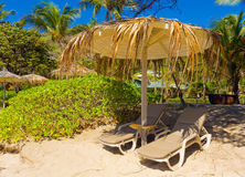 Beach chairs at a resort in the caribbean Royalty Free Stock Photo