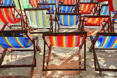 Beach chairs. Rows of colored beach chairs Royalty Free Stock Image