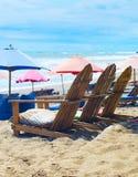Beach chairs, sacks, umbrellas. Bali stock images