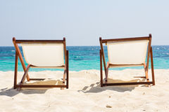 Beach chairs. On sand beach Royalty Free Stock Images