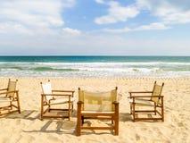 Beach chairs on the sandy beach. Coast of the Black Sea. South Beach, Varna, Bulgaria Royalty Free Stock Images