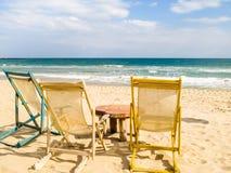 Beach chairs on the sandy beach. Coast of the Black Sea. South Beach, Varna, Bulgaria Stock Photography
