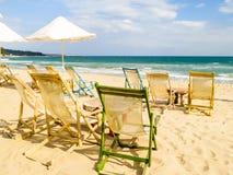 Beach chairs on the sandy beach. Coast of the Black Sea. South Beach, Varna, Bulgaria Royalty Free Stock Image