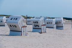 Nordfriesland. Beach chairs in Sankt Peter-Ording in Nordfriesland, Schleswig-Holstein, Germany stock photo
