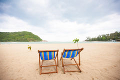 Beach chairs at sea front Royalty Free Stock Photos