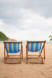 Beach chairs at sea front Royalty Free Stock Photo